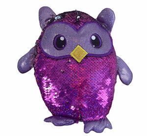 Owl Reversible Flip Sequin Pillow Plush Shimmer Sparkle Purple Bedding Spring