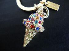 Coach 3D Ice Cream Cone Key Fob Gold Multi Pave Crystal Key Ring Charm NWT