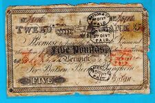 More details for england – tweed bank £5 issued note with endorsements 02.03.1830 vg+ rare
