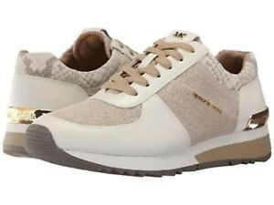 New Michael Kors MK Allie Trainer Fabric Leather Sneakers Shoes Natural white