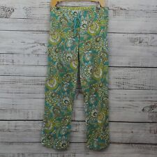 Vera Bradley Turquoise Green Peacock Pajama 100% Cotton Lounge Pants Size Small