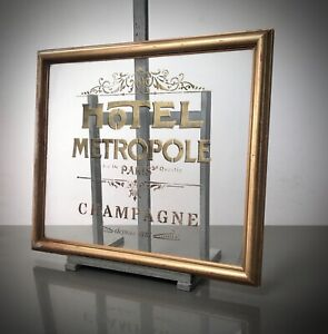 VINTAGE FRENCH FRAME, PARISIAN CAFE SOCIETY GRAPHICS. CHAMPAGNE HOTEL METROPOLE