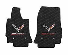 C7 Corvette Lloyd Floor Mats - Black with Crossed Flags & Grand Sport Logo