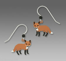 Sienna Sky Red FOX EARRINGS STERLING Silver Hand Painted Dangle + Gift Box