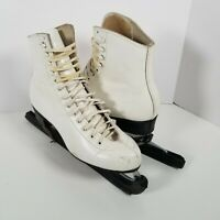 Riedell 220 Red Wing Figure Skating Ice Skates White Womens 6 Sheffield Blades