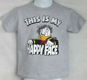 Disney Donald Duck Boys T-Shirt Officially Licensed This is my Happy Face Gray
