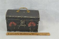"box document tole painted tin toleware  brass handle 8.5"" original antique vg"