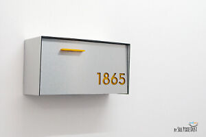 Modern Mailbox Brushed Silver Aluminum Face and Body, Yellow numbers - Type 3