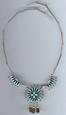 VINTAGE ZUNI INDIAN SILVER TURQUOISE PETIT POINT NECKLACE