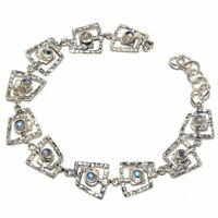 "Rainbow Moonstone Natural Gemstone 925 Sterling Silver Bracelet 7-8"" B-19"