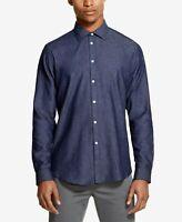 Dkny Men's Indigo Twill Shirt Maritime Blue Sz Large $79