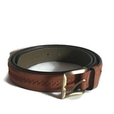 BALLY Stitched Taupe Men's Leather Belt Size Large Made in Italy Brass Buckle