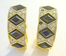 Signed Pave Black Diamonds Vintage Swarovski Clip On Earrings