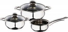 Kaiserhoff 3 Piece Set Pots & Pan Polished Stainless Steel With Glass Lids