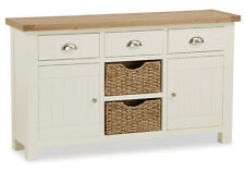 Daymer Painted Large Sideboard with Baskets / Off White Large Cupboard & Oak Top
