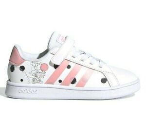 Adidas Grand Court Bambina Fantasia Minnie Disney a Strappo Bianche Scarpe