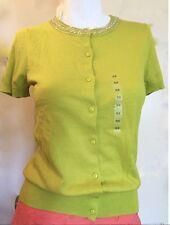 NWT Ann Taylor Loft Short Sleeve Crew Neck Beaded Cardigan Sweater  $45
