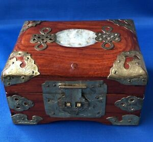 Oriental Small Wood and Metal Jewellery Box Carved Stone Red Gold Lining China