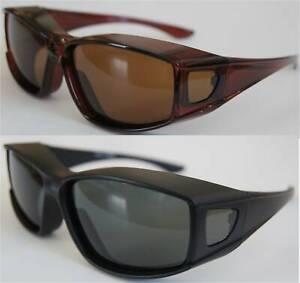 2 pairs 100% UV Polarized put cover over sunglasses size M