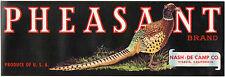 *Original* PHEASANT Visalia GAME BIRD Nash-De Camp Grape Crate Label NOT A COPY!