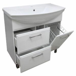 Badmöbel Waschbecken mit Unterschrank Waschtisch Kamia Weiß Hochglanz 85 cm Neu