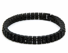 """Mens Black Plated Iced Out Black Cz Stones 2 Row Hip Hop Bracelet 8"""" Inches"""