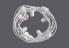 Festoon Lighting String 10 metre w/ 10 BC lampholders Heavy Duty WHITE Cable