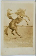 RPPC Rodeo Cowboy ED McCARTY on OVER THE ROAD 1918 Real Photo Postcard K15