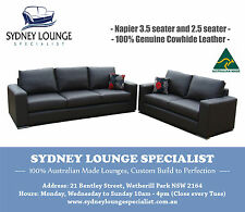 NEW AUSTRALIAN MADE Napier Italian Leather Lounge Set (3.5 + 2.5) Sofa Couch Bed