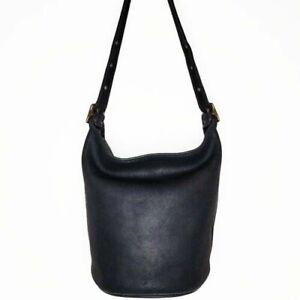 Vintage Coach Leather Bucket Bag Black Extra Large
