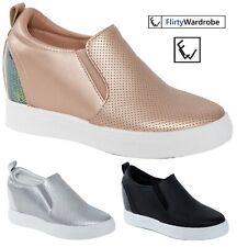Womens Wedge Trainers  Sneakers  Slip On Hidden Heel Pumps Comfy Shoe