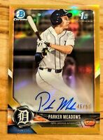 PARKER MEADOWS 2018 Bowman Draft 1st Chrome GOLD Refractor /50 Auto Tigers RC