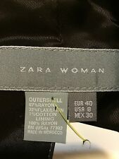 Zara women's 8 jacket one button liner brown with light stripe outer shell