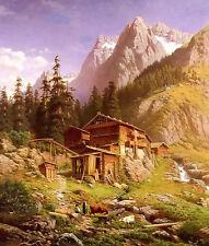 Oil painting georg engelhardt - an alpine mill house beautiful landscape canvas