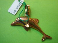 T.BEAU PENDENTIF DAUPHIN EN PLAQUE OR VINTAGE 1970 NEUF/NEW OLD DOLPHIN PENDENT