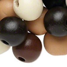8128NB Wood Bead Mix Brown Black White XL 20mm Round, Large Hole, 25 Qty
