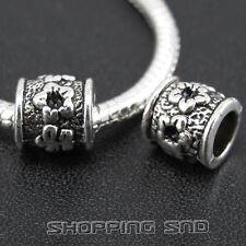 50pcs Tibetan Silver Tone Spacer Beads Fit European Charms Bracelet  Flowers Diy