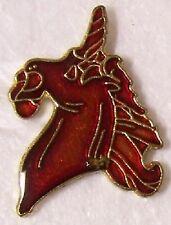 Hat Lapel Pin Scarf Clasp Animal Unicorn Head Red NEW