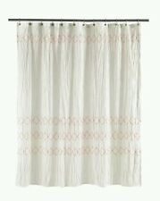 Threshold White Smocked Zig Zag Coral Stitch Shower Curtain ~ Cotton
