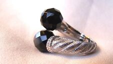 Judith Ripka Sterling Silver Bold Onyx By-Pass  925  Size 7 GORGEOUS!