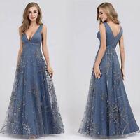 Ever-Pretty A-Line Birdesmid Dresses Long V-neck Sequin Wedding Prom Gowns 07860