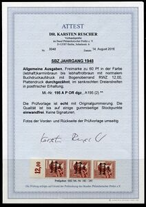 SBZ Nr: 195 A P OR dgz Postfrisch Attest KW 500,- M€ Bilder im Angebot