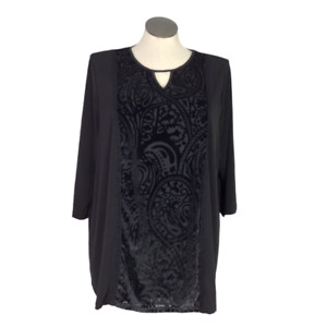 Catherines Women 1X Burnout Velvet Panel Tunic Top Black Stretch 3/4 Sleeve