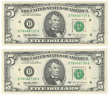1995 $5 Lot of 2 Consecutive Uncirculated Bills Federal Reserve Notes Cleveland