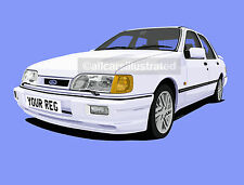 SIERRA SAPPHIRE RS COSWORTH  CAR ART PRINT. ADD YOUR REG DETAILS, CHOOSE COLOUR