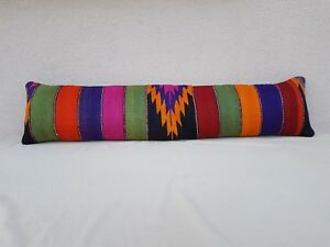 12 X 48 Multi Color Queen Boho Bedding Kilim Pillow Cover, King Long Bed Cushion