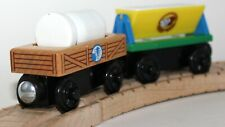 Genuine Thomas Friends Wooden Train Railroad Engine Milk Barrel & Flour Cars