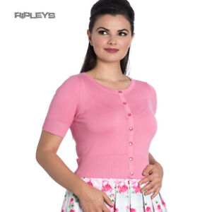 Hell Bunny Ladies 50s WENDI Plain Short Sleeve Cardigan Top Candy Pink All Sizes