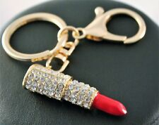Alloy Rhinestone Lipstick Purse Key Ring/Chain w/Free Jewelry Box and Shipping