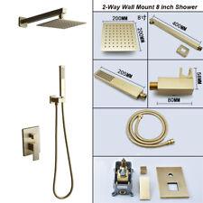 Montaje en pared de baño de 2 formas de Oro Cepillado Con Spray De Mano Oculta Ducha Conjunto